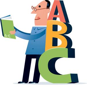 Læsende mand, der læner sig op ad alfabetet